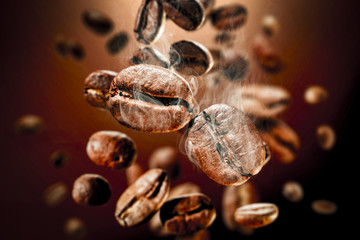 Poster Café en grains coffee splash