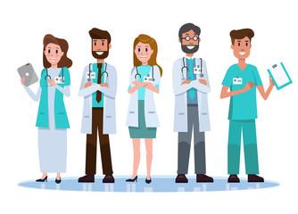 Hospital medical staff team.  flat character design. vector illustration