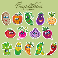 Colorful pixel patch badges with vegetables. Vector illustration