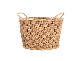 Empty wicker basket without shadow on white background 3d
