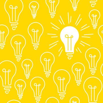 Concepts, idea, creativity, light bulb, seamless pattern