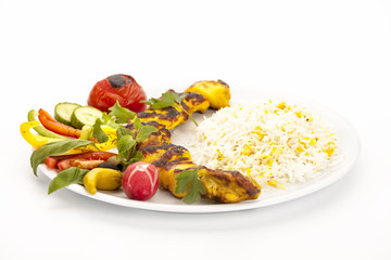 Marinated And Grilled Chicken Kebab With Rice