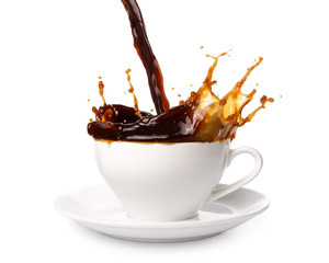 Pouring coffee into cup with splashing., Isolated on white background.