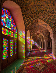 Nasir-ol-molk Colorful Mosque with Stained Glass Windows and Persian Carpets in Shiraz
