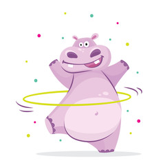 Cute hippo in sport gymnastic position. Sportsman flat icons isolated on white background. Kids illustration