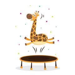 Cute giraffe in sport gymnastic position. Sportsman flat icons isolated on white background. Kids illustration