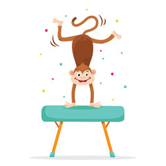 Cute monkey in sport gymnastic position. Sportsman flat icons isolated on white background. Kids illustration
