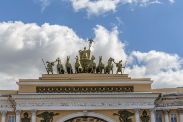 Statues over Arch of the General Staff on Palace Square