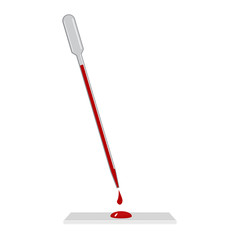 The pipette with blood. Sample blood drops from the pipette on the glass. Flat design