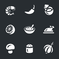 Vector Set of Tom Yam soup Icons.