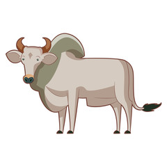 Cartoon standing zebu