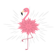 Pink flamingo. Pink flower body. Shining effect. Exotic tropical bird. Zoo animal collection. Cute cartoon character. Decoration element. Flat design. White background. Isolated.