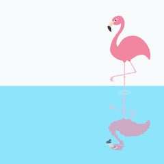 Pink flamingo standing on one leg. Shadow circles on the water. Exotic tropical bird. Zoo animal collection. Cute cartoon character. Decoration element. Flat design. White blue background.