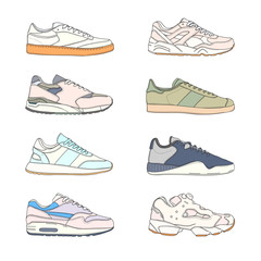Set of modern sneakers. Sports shoes collection. Casual footwear side view. Hand drawn vector illustration.