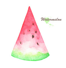 Hand drawn watercolor painting of fruit watermelon on white background.