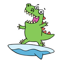 Cute dragon surfer on surfboard caught a wave. Vector illustration.