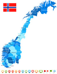 Norway - map and flag – illustration