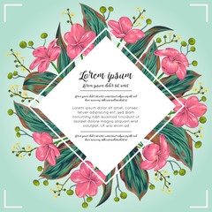 Floral border with tropical flowers,berries and leaves. Design for banner, poster, card, invitation and scrapbook. Botanical vector illustration in watercolor style