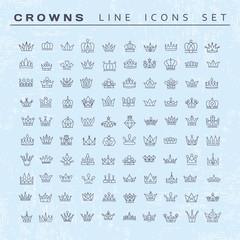 Vector heraldic elements design. Set of black line crowns.