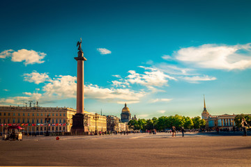 Palace square with Alexander column in Saint Petersburg, Russia.