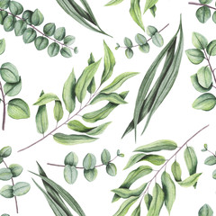 Seamless Pattern of Watercolor Green Leaves and Eucalyptus
