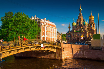 View the Church of the Savior on Spilled Blood at sunset in St. Petersburg, Russia.