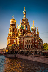 Church of the Savior on Spilled Blood at sunset in St. Petersburg, Russia