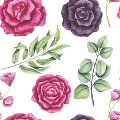 Seamless Pattern of Watercolor Light Green Leaves and Roses