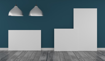 Three Mock up poster in a blue room
