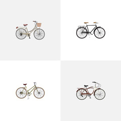 Realistic Brand , Fashionable , Journey Bike Vector Elements. Set Of Bicycle Realistic Symbols Also Includes Girl, Cruise, Bicycle Objects.