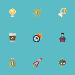 Flat Icons Bulb, Coin, Discussion And Other Vector Elements. Set Of Idea Flat Icons Symbols Also Includes Deadline, Hand, Light Objects.