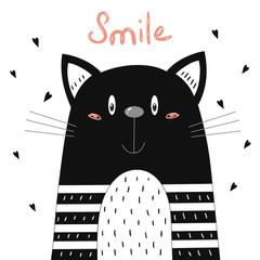 Hand Drawn cute Funny Cartoon vector cat print