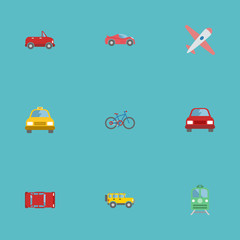 Flat Icons Bicycle, Metro, Cab And Other Vector Elements. Set Of Transport Flat Icons Symbols Also Includes Bike, Airplane, Cabriolet Objects.