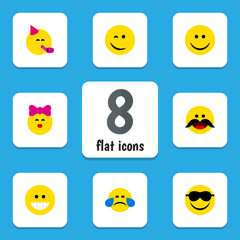 Flat Icon Gesture Set Of Happy, Cold Sweat, Joy And Other Vector Objects. Also Includes Fun, Tears, Cheerful Elements.