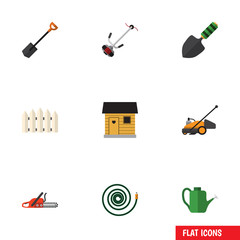 Flat Icon Farm Set Of Grass-Cutter, Stabling, Spade And Other Vector Objects. Also Includes Spatula, Spade, Tool Elements.