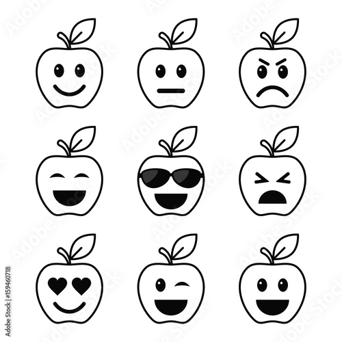 Apple Smiley Faces Set Outline Icon Vector Different Mood Symbol