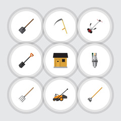 Flat Icon Dacha Set Of Hay Fork, Tool, Pump And Other Vector Objects. Also Includes Tool, Scythe, Lawn Elements.