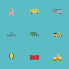 Flat Icons Automotive, Lorry, Streetcar And Other Vector Elements. Set Of Transport Flat Icons Symbols Also Includes Omnibus, Bus, Bicycle Objects.
