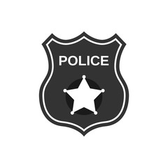 Police badge in flat style