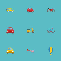 Flat Icons Car, Chopper, Bicycle And Other Vector Elements. Set Of Transport Flat Icons Symbols Also Includes Scooter, Taxi, Bicycle Objects.