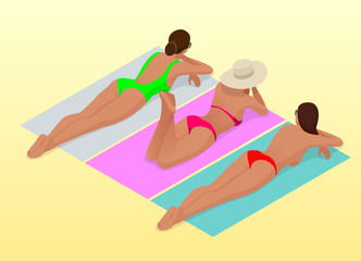 Beautiful young slim woman sunbathe on the beach on a sunbed near the sea, beach, summer vacation, sexy girl Isometric people vector illustration.