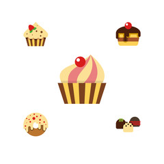 Flat Icon Cake Set Of Cake, Dessert, Sweetmeat And Other Vector Objects. Also Includes Cake, Pastry, Doughnut Elements.