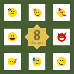 Flat Icon Face Set Of Party Time Emoticon, Have An Good Opinion, Laugh And Other Vector Objects. Also Includes Sleeping, Party, Sing Elements.