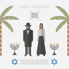 Israel icons set. Jewish people.