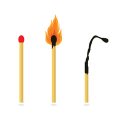 Matches, lighted match and burned match.