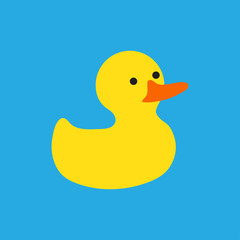 Rubber duck bath toy sticker in flat style on blue background. Vector illustration