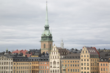 German Church and Building Facades in Old Town; Stockholm