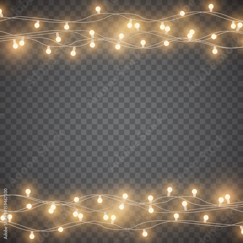 Christmas Lights Vector Free.Yellow Garlands On Simple Background Christmas Lights