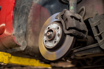 Car brake disc with no point, mechanic checks to see if everything is fine, car service