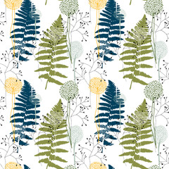 Floral pattern with fern leaves, dandelions and grasses.